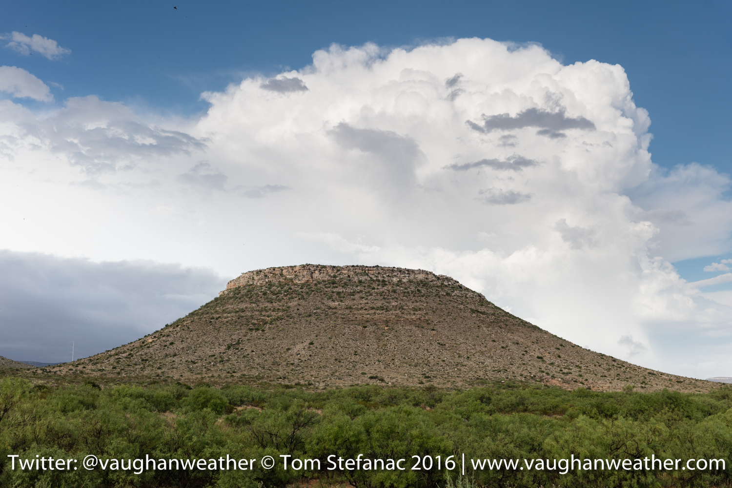 Supercell behind a flattop rock in Perico, Texas